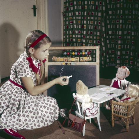 Dolls at School Photographic Print