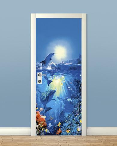 Dolphin in the sun door wallpaper mural behangposter bij for Dolphin mural wallpaper