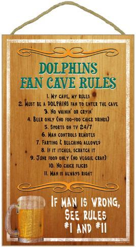 Dolphins Fan Cave Rules Wood Sign Wood Sign