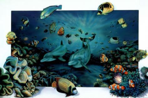 Dolphins Underwater Playground Art Print Poster Poster