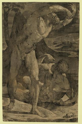 Two Nude Men: One Standing, One Reclining, Between 1500 and 1551 Lámina giclée