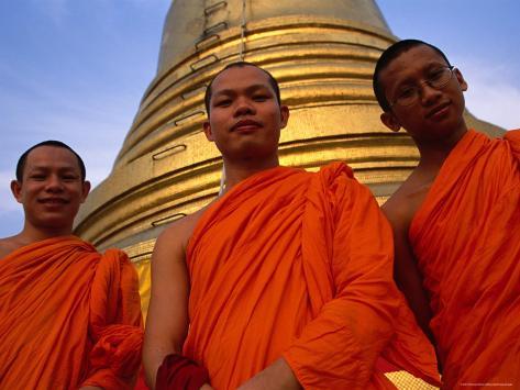 Monks in Front of the Golden Mount, Wat Saket, Bangkok, Bangkok, Thailand Photographic Print