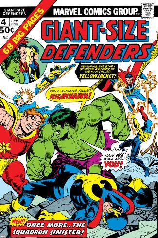 Giant-Size Defenders No.4 Cover: Hulk, Dr. Strange, Hyperion, Dr. Spectrum and Nighthawk Fighting Poster
