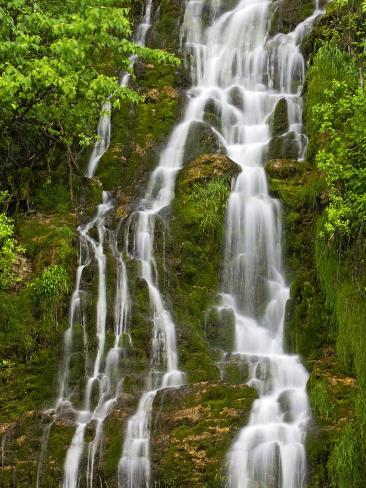 Waterfall Cascading Down Cliffside Along the Coast of the Gulf of St. Lawrence, Gaspe Peninsula, La Photographic Print