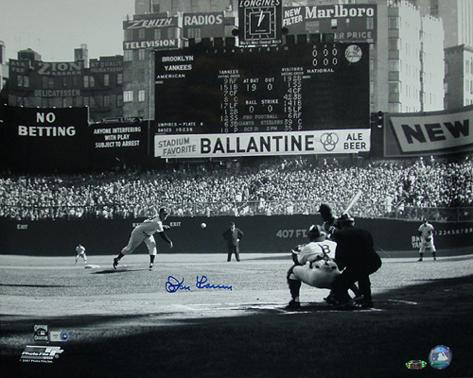 Don Larsen Autographed First Pitch Black And White Photograph Photo