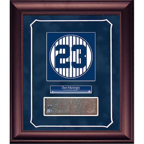 Don Mattingly Retired Number Monument Park Brick Slice Collage w/ Nameplate Framed Memorabilia