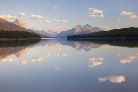 Canada, Alberta, Jasper National Park, Maligne Lake, Reflection of Clouds in a Lake Photographic Print