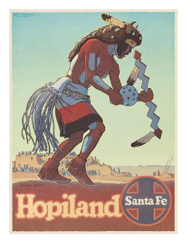 Santa Fe Railroad: Hopiland, c.1940's Framed Giclee Print