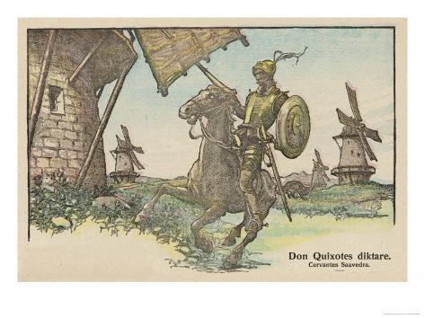 Don Quixote Attacks the Windmill Giclee Print