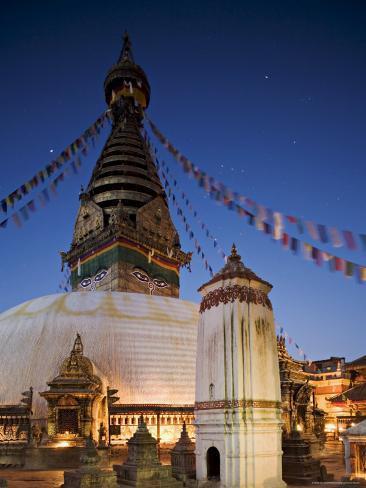 Swayambhunath Buddhist Stupa on a Hill Overlooking Kathmandu, Unesco World Heritage Site, Nepal Photographic Print