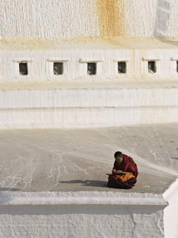 Tibetan Buddhist Monk Reading Scriptures at the Boudha Stupa at Bodhanath, Kathmandu, Nepal Photographic Print