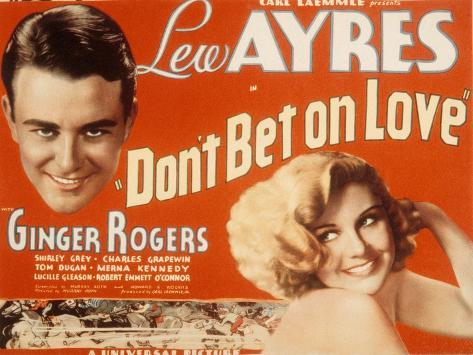 Don't Bet on Love, Lew Ayres, Ginger Rogers, 1933 Photo