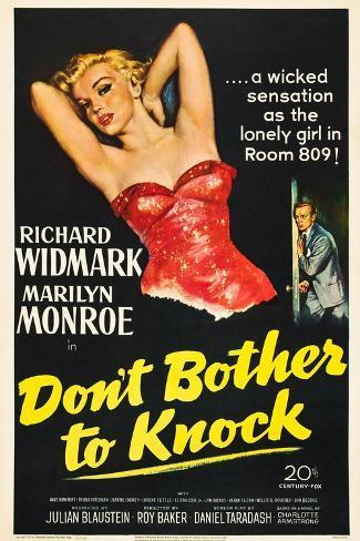Don't Bother To Knock , Marilyn Monroe, Richard Widmark, 1952 Konstprint