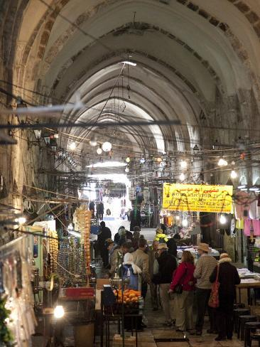 Marketplace in Covered Alleyway in the Arab Sector, Old City, Jerusalem, Israel, Middle East Photographic Print