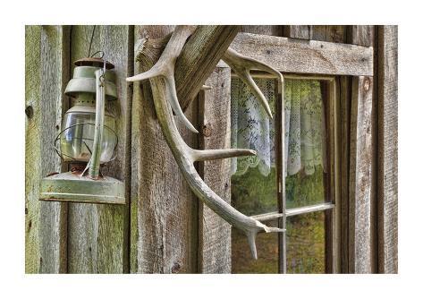 Antlers And Lantern Giclee Print