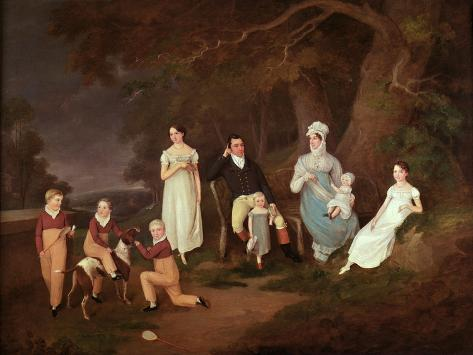 Group Portrait of a Squire, His Wife and Children on the Edge of the New Forest, 1817 Giclee Print