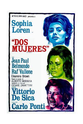 Dos Mujeres, (AKA Two Women, Aka La Ciociara), Sophia Loren on Argentinian Poster Art, 1960 Gicléetryck