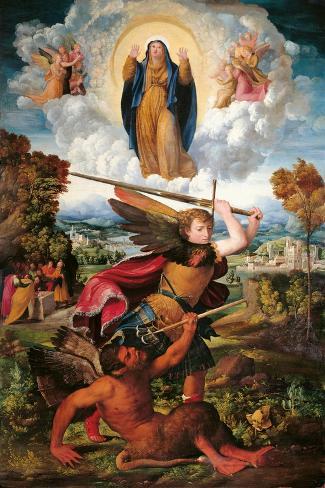 Archangel Michael and the Devil Lámina
