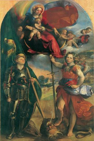 Madonna in Glory with Child, Angels & Sts George and Michael Archangel Lámina