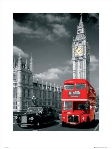Double-Decker Bus, Piccadilly Circus, London Art Print