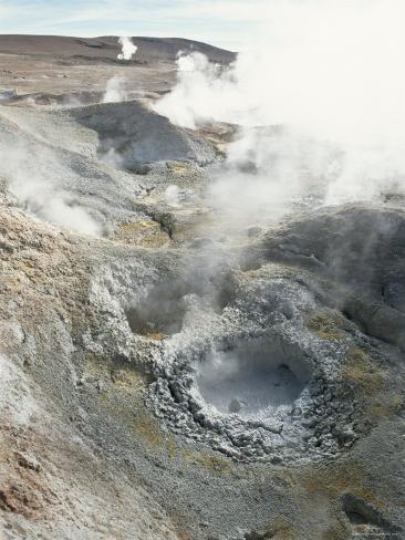 Geysers and Boiling Mud, Sol De Mamama Geyser, Altiplano, Bolivia Photographic Print