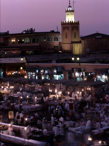 Djemma El-Fna at Dusk with Mosque Behind, Marrakesh, Morocco Photographic Print