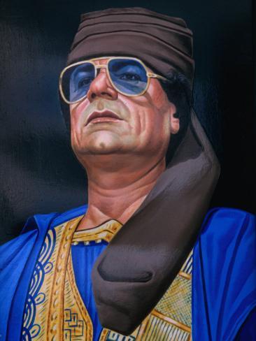 Painting of Libyan Leader Colonel Muammar Al-Gaddafi, Tripoli, Tarabulus, Libya Photographic Print
