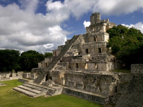 Ruins of Edificio De Cinco Pisos at Mayan Archaeological Site Photographic Print