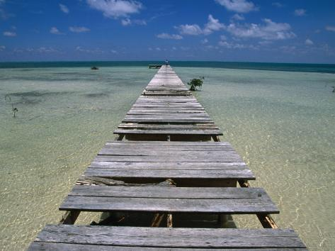 Wooden Pier with Broken Planks, Ambergris Caye, Belize Photographic Print