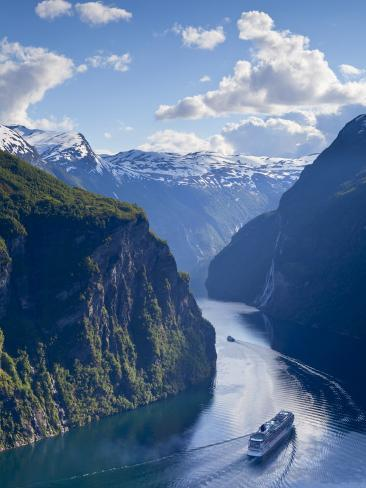 A Cruise Ship Navigates Through Geiranger Fjord, Geiranger, More Og Romsdal, Norway Photographic Print