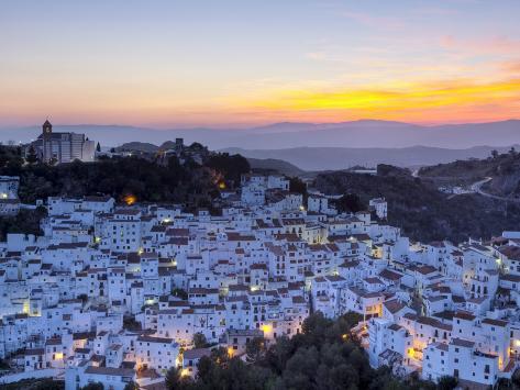 Casares at Sunset, Casares, Malaga Province, Andalusia, Spain Photographic Print