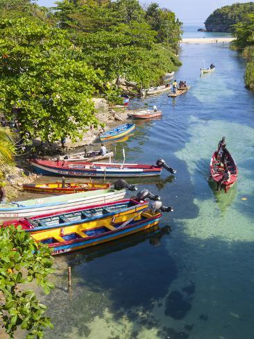 Colourful Fishing Boats on White River, Ocho Rios, St. Ann Parish, Jamaica, Caribbean Photographic Print