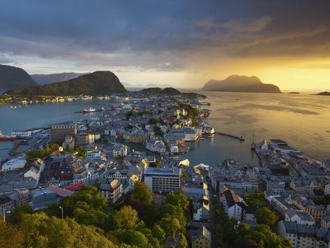 Elevated View over Alesund at Sunset, Sunnmore, More Og Romsdal, Norway Photographic Print