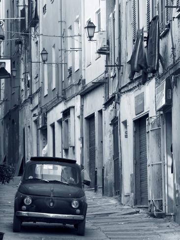Fiat Driving in Narrow Street, Sassari, Sardinia, Italy Photographic Print