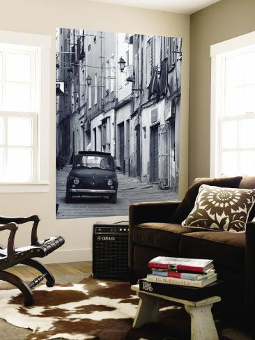 Fiat Driving in Narrow Street, Sassari, Sardinia, Italy Wall Mural