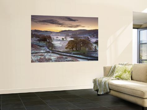 Frosty Morning, Little Langdale, Lake District, Cumbria, England Wall Mural