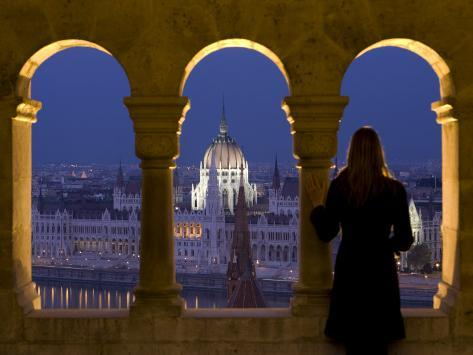 Hungarian Parliament Seen from Fishermans Bastion, Budapest, Hungary Photographic Print