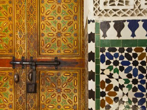 Interior Door Detail, Moulay Ismal Mousoleum, Medina, Meknes, Morocco Photographic Print