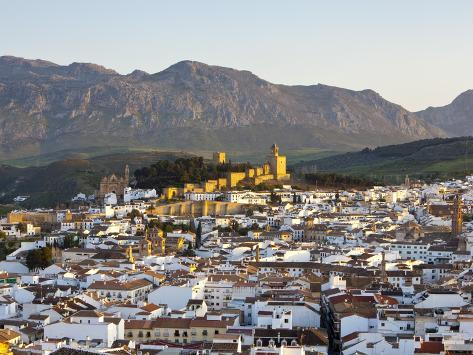 Moorish Alcazaba (Castle) and City Overview at Sunset, Antequera, Malaga Province, Andalusia, Spain Photographic Print