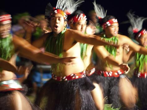 Polynesian Dancers, Rarotonga, Cook Islands, South Pacific Photographic Print