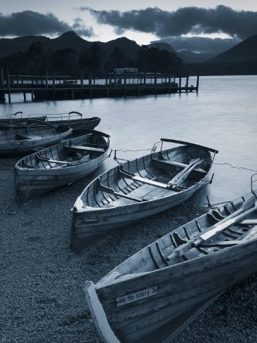 Rowing Boats, Derwent Water, Lake District, Cumbria, UK Photographic Print