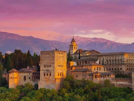 The Alhambra Palace at Sunset, Granada, Granada Province, Andalucia, Spain Photographic Print