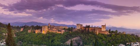 The Alhambra Palace Illuminated at Dusk, Granada, Granada Province, Andalucia, Spain Photographic Print
