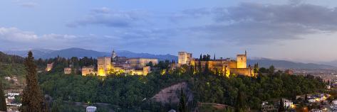 The Alhambra Palace Illuminated at Dusk, Granada, Granada Province, Andalucia, Spain Photographic Print
