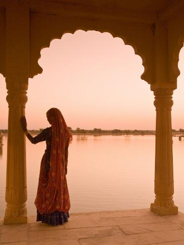 Woman Wearing Sari, Jaisalmer, Rajasthan, India Photographic Print