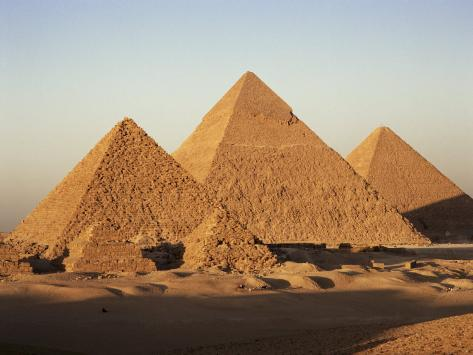 Pyramids at Sunset, Giza, Unesco World Heritage Site, Near Cairo, Egypt, North Africa, Africa Photographic Print