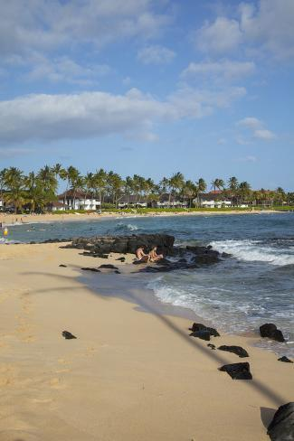 Kiahuna Beach Poipu Kauai Hawaii Usa Impressão Fotográfica
