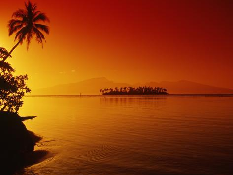 Sunset, Moorea, French Polynesia Photographic Print