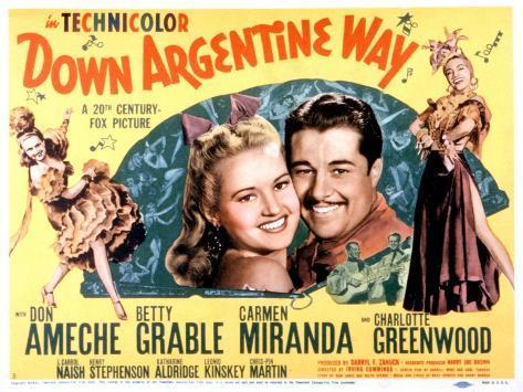 Down Argentine Way, Betty Grable, Don Ameche, Carmen Miranda, 1940 Photo