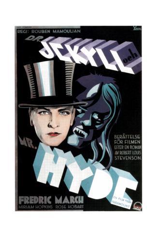 Dr. Jekyll and Mr. Hyde, Fredric March on Swedish Poster Art, 1931 Impressão giclée